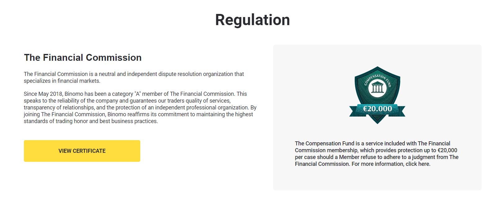 binomo regulation